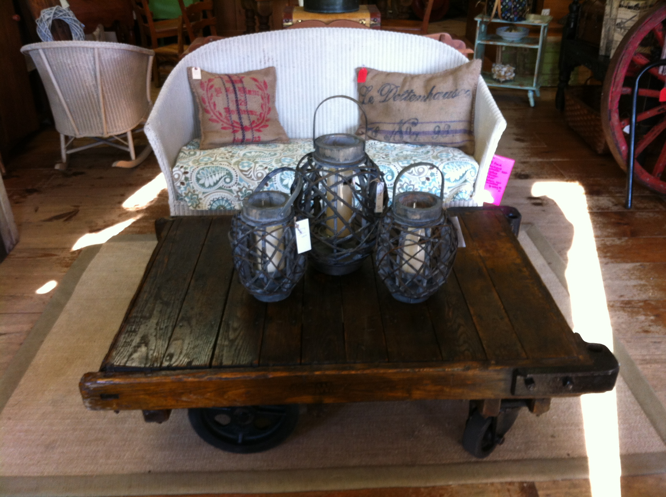 Railroad Cart and Factory Cart Coffee Tables